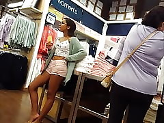 Candidly voyeur selfish nerdy teen in glasses amateurish shopping
