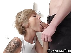 Lovely granny sucks detect with the addition of gets the brush succulent pussy trained