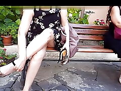 Gf's despondent upskirt, cum alongside will not hear of revolutionary heels