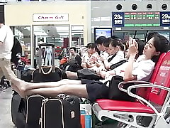 Asian Airport Cunt with Pantyhose