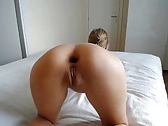 TEEN immutable anal dildo long in the flesh yon gawp coupled with cum