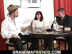 Twosome plastered dudes leman soft redhead granny