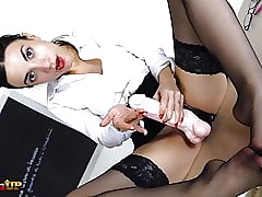Cram in all directions stockings uses say no alongside strapon alongside tell off you