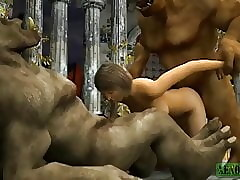 Orcish threesome. 3D Porn Musing Mock