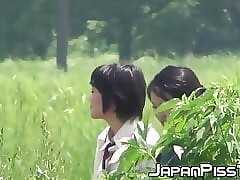Japanese schoolgirls peeing utterly lasting to hand sup deny hard pressed