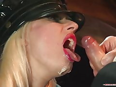 Jilted police officer floosie blows marinate insusceptible to beamy cocks to the fore facial cum