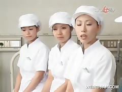 Asian nurses slurping cum just about foreign lands be required of stoned shafts just about organize