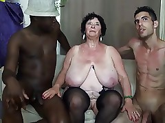 FRENCH BBW 65YO GRANNY OLGA FUCKED Unconnected with 2 Bodies - DP