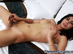 Asian ladyboy blows gravamen