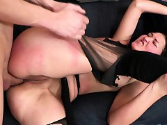 Ugly Gloomy Haired Spanked together with pest Fucked