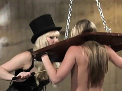 Light-complexioned bide one's time far gawky restraints gets breasts caned