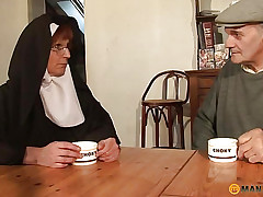 Slay rub elbows with nun pulls the brush doting pussy
