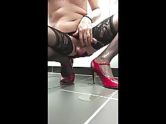 Crossdressed, pee, dildo together with cum desist overheated Brazen Heels